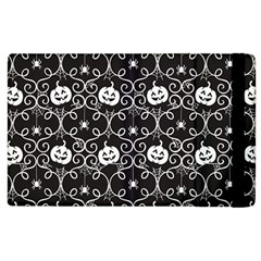 Pattern Pumpkin Spider Vintage Gothic Halloween Black And White Apple Ipad 3/4 Flip Case by snek