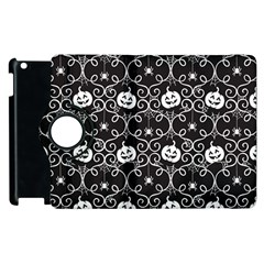 Pattern Pumpkin Spider Vintage Gothic Halloween Black And White Apple Ipad 2 Flip 360 Case