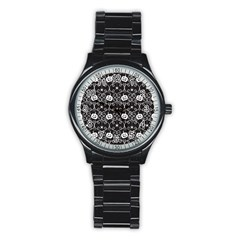 Pattern Pumpkin Spider Vintage Gothic Halloween Black And White Stainless Steel Round Watch