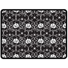 Pattern Pumpkin Spider Vintage Gothic Halloween Black And White Double Sided Fleece Blanket (large)