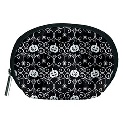 Pattern Pumpkin Spider Vintage Gothic Halloween Black And White Accessory Pouch (medium)