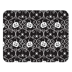 Pattern Pumpkin Spider Vintage Gothic Halloween Black And White Double Sided Flano Blanket (large)  by MAGA