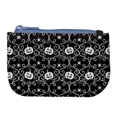 Pattern Pumpkin Spider Vintage Gothic Halloween Black And White Large Coin Purse