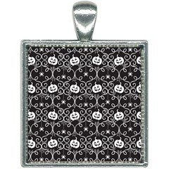 Pattern Pumpkin Spider Vintage Gothic Halloween Black And White Square Necklace by genx