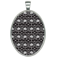 Pattern Pumpkin Spider Vintage Gothic Halloween Black And White Oval Necklace by genx