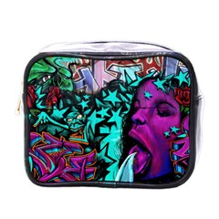 Graffiti Woman And Monsters Turquoise Cyan And Purple Bright Urban Art With Stars Mini Toiletries Bag (one Side)