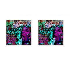 Graffiti Woman And Monsters Turquoise Cyan And Purple Bright Urban Art With Stars Cufflinks (square) by snek