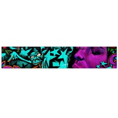 Graffiti Woman And Monsters Turquoise Cyan And Purple Bright Urban Art With Stars Large Flano Scarf  by snek