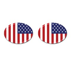 Us Flag Stars And Stripes Maga Cufflinks (oval) by snek
