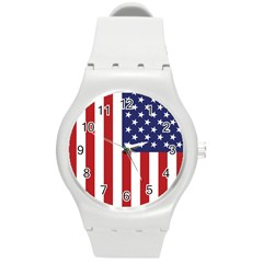 Us Flag Stars And Stripes Maga Round Plastic Sport Watch (m) by MAGA