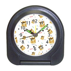 Doge Much Thug Wow Pattern Funny Kekistan Meme Dog White Travel Alarm Clock
