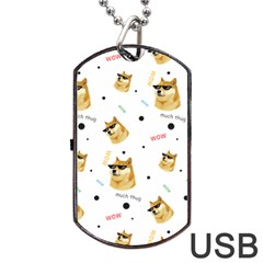 Doge Much Thug Wow Pattern Funny Kekistan Meme Dog White Dog Tag Usb Flash (one Side)