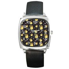 Doge Much Thug Wow Pattern Funny Kekistan Meme Dog Black Background Square Metal Watch