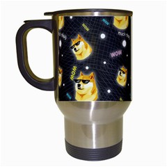 Doge Much Thug Wow Pattern Funny Kekistan Meme Dog Black Background Travel Mugs (white)