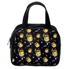 Doge Much Thug Wow Pattern Funny Kekistan Meme Dog Black Background Classic Handbag (one Side)