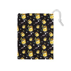 Doge Much Thug Wow Pattern Funny Kekistan Meme Dog Black Background Drawstring Pouch (medium)