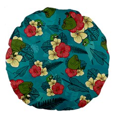 Apu Apustaja And Groyper Pepe The Frog Frens Hawaiian Shirt With Red Hibiscus On Green Background From Kekistan Large 18  Premium Flano Round Cushion
