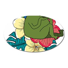 Apu Apustaja And Groyper Pepe The Frog Frens Hawaiian Shirt With Red Hibiscus On White Background From Kekistan Oval Magnet by MAGA