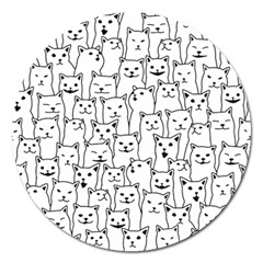 Funny Cat Pattern Organic Style Minimalist On White Background Magnet 5  (round)