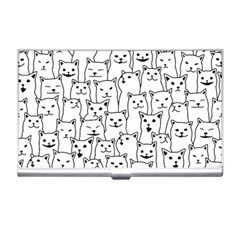 Funny Cat Pattern Organic Style Minimalist On White Background Business Card Holder