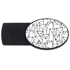 Funny Cat Pattern Organic Style Minimalist On White Background Usb Flash Drive Oval (2 Gb)