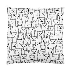 Funny Cat Pattern Organic Style Minimalist On White Background Standard Cushion Case (one Side)