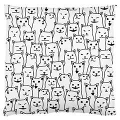 Funny Cat Pattern Organic Style Minimalist On White Background Large Cushion Case (two Sides)