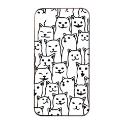 Funny Cat Pattern Organic Style Minimalist On White Background Apple Iphone 4/4s Seamless Case (black)