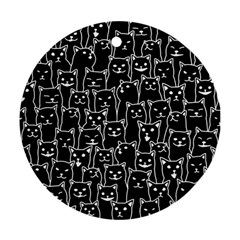 Funny Cat Pattern Organic Style Minimalist On Black Background Ornament (round)