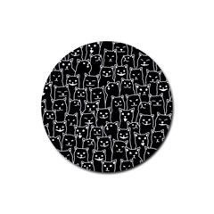 Funny Cat Pattern Organic Style Minimalist On Black Background Rubber Round Coaster (4 Pack)  by MAGA