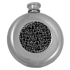 Funny Cat Pattern Organic Style Minimalist On Black Background Round Hip Flask (5 Oz) by MAGA