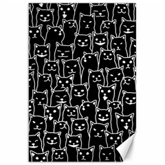 Funny Cat Pattern Organic Style Minimalist On Black Background Canvas 20  X 30