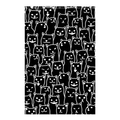 Funny Cat Pattern Organic Style Minimalist On Black Background Shower Curtain 48  X 72  (small)  by genx