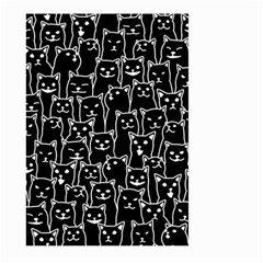 Funny Cat Pattern Organic Style Minimalist On Black Background Large Garden Flag (two Sides)