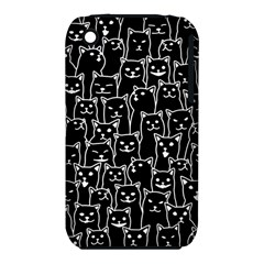 Funny Cat Pattern Organic Style Minimalist On Black Background Iphone 3s/3gs