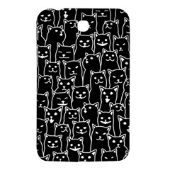 Funny Cat Pattern Organic Style Minimalist On Black Background Samsung Galaxy Tab 3 (7 ) P3200 Hardshell Case