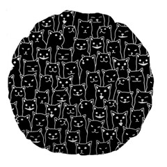 Funny Cat Pattern Organic Style Minimalist On Black Background Large 18  Premium Flano Round Cushions by genx
