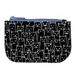 Funny Cat Pattern Organic Style Minimalist On Black Background Large Coin Purse