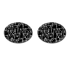 Funny Cat Pattern Organic Style Minimalist On Black Background Cufflinks (oval)