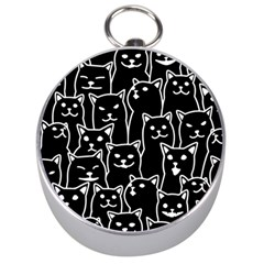 Funny Cat Pattern Organic Style Minimalist On Black Background Silver Compasses