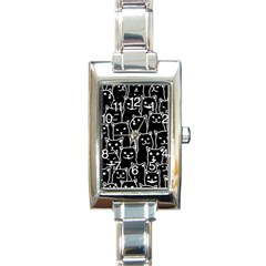 Funny Cat Pattern Organic Style Minimalist On Black Background Rectangle Italian Charm Watch by MAGA