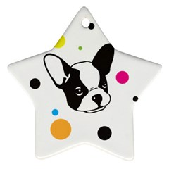 Boston Terrier Dog Pattern With Rainbow And Black Polka Dots Ornament (star)