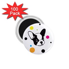 Boston Terrier Dog Pattern With Rainbow And Black Polka Dots 1 75  Magnets (100 Pack)