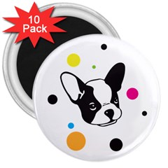 Boston Terrier Dog Pattern With Rainbow And Black Polka Dots 3  Magnets (10 Pack)