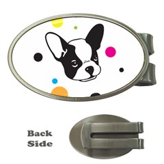 Boston Terrier Dog Pattern With Rainbow And Black Polka Dots Money Clips (oval)