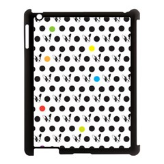 Boston Terrier Dog Pattern With Rainbow And Black Polka Dots Apple Ipad 3/4 Case (black)
