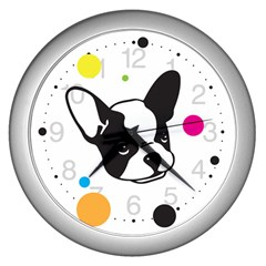 Boston Terrier Dog Pattern With Rainbow And Black Polka Dots Wall Clock (silver)