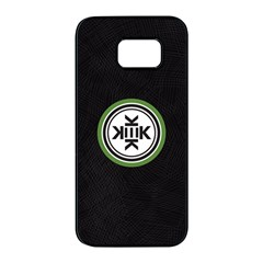 Official Logo Kekistan Circle Green And Black On Black Textured Background Samsung Galaxy S7 Edge Black Seamless Case by snek