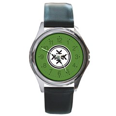 Official Logo Kekistan Circle Green And Black On Dark Green Background Round Metal Watch by snek