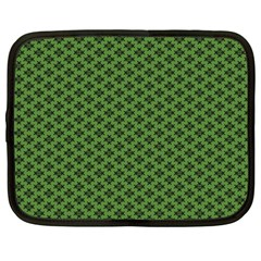 Logo Kek Pattern Black And Kekistan Green Background Netbook Case (large)